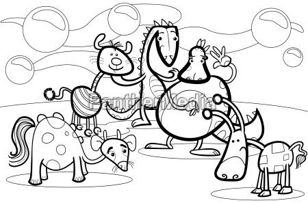 cartoon fantasy group coloring book