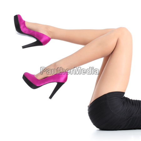 beautiful woman legs with fuchsia high