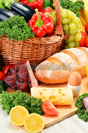 composition with assorted organic grocery products