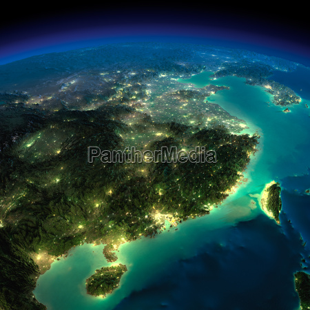 night earth eastern china and taiwan