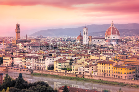 scenic view of florence at sunset