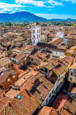 scenic vertical view of lucca village