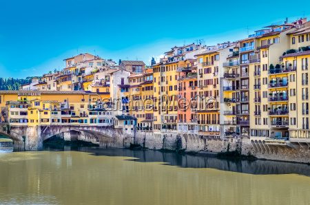 view of colorful houses and ponte