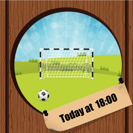 soccer ball and gate in wooden