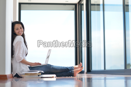 relaxed young woman at home