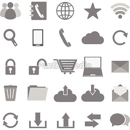 communication icons on white background
