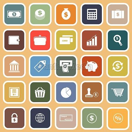 money flat icons on orange background