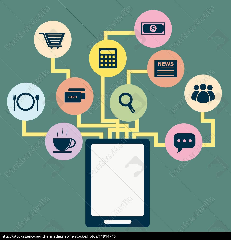 tablet-anwendung, konzept, idee, in, flachen, stil - 11914745