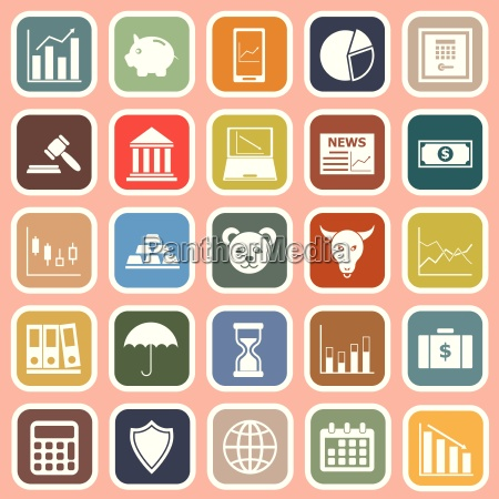 stock market flat icons on red