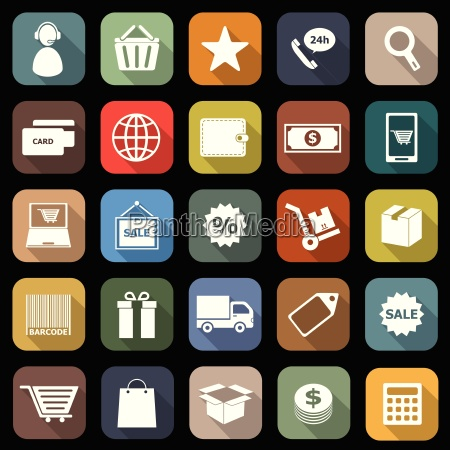 e commerce flat icons with long