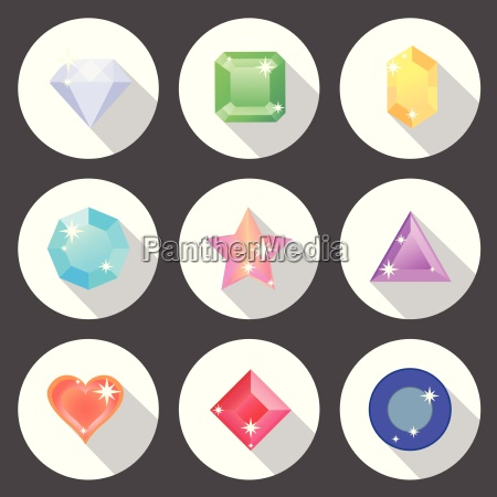 gem stone flat color icons with