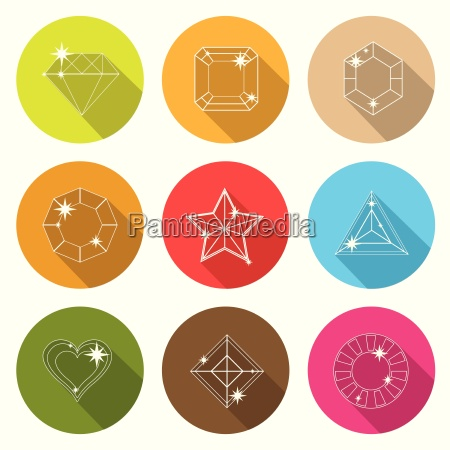 gem stone cutting flat icons with