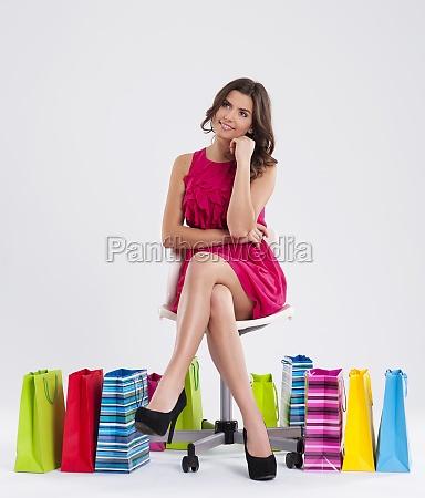 dreaming beautiful shopper