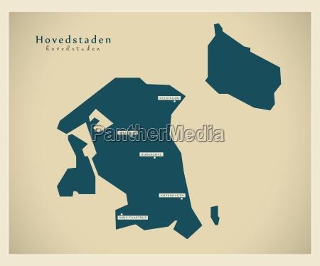 moderne landkarte hovedstadens dk