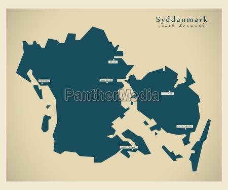 moderne landkarte syddanmark dk