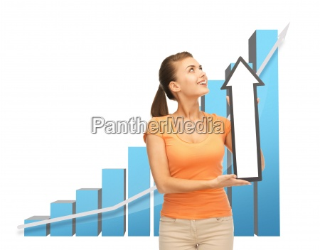 woman with rising graph and arrow
