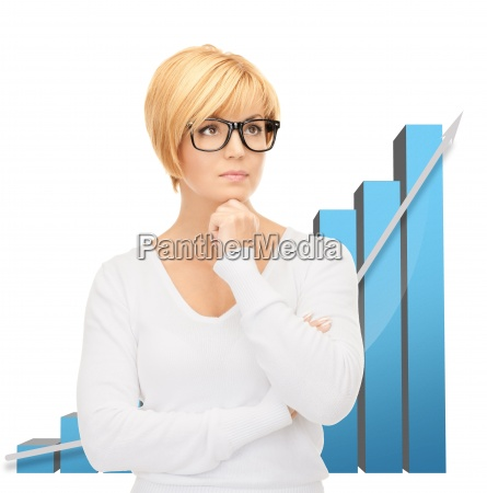 businesswoman with colorful 3d graphics