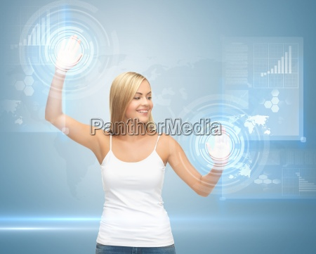 woman working with virtual screen