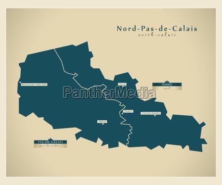 moderne landkarte nord pas de