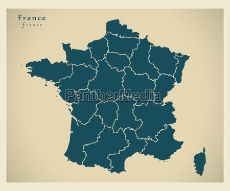 moderne landkarte frankreich