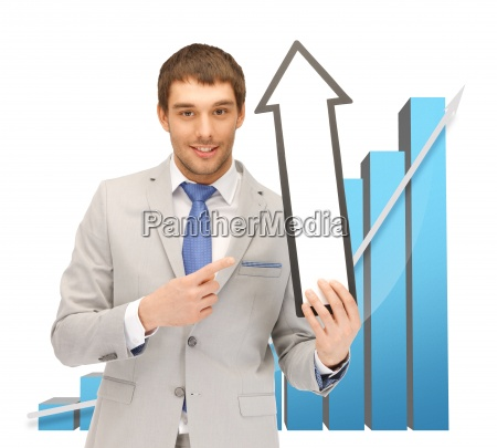 businessman with arrow and 3d chart