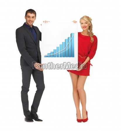 woman holding board with 3d graph