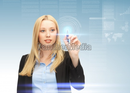 businesswoman working with virtual screen