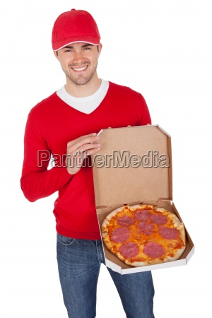 portrait of pizza delivery boy with