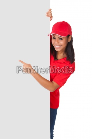 young pizza woman presenting banner