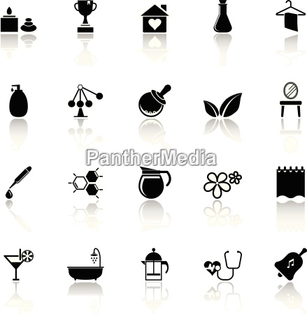 spa treatment icons with reflect on