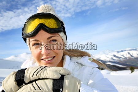 portrait of cheerful blond woman at