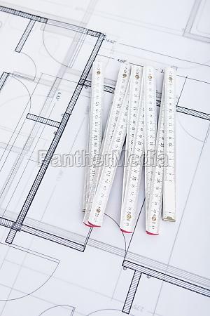 folding ruler on blueprint