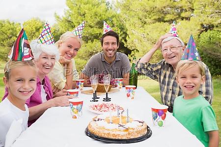 multi generation family having a birthday