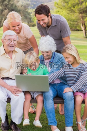 happy multi generation family in the