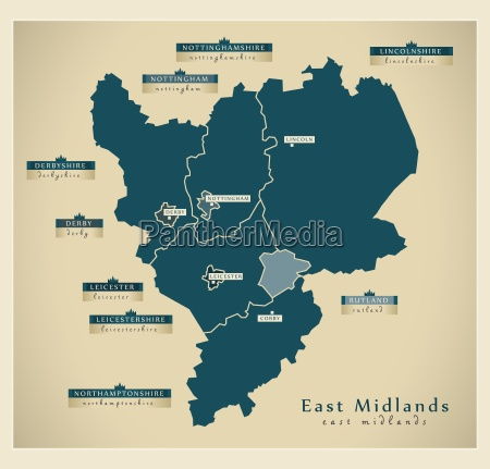 moderne landkarte east midlands uk