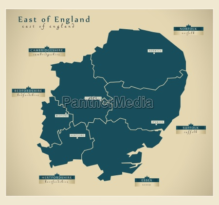 moderne landkarte east of england