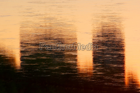 water reflection of sunset