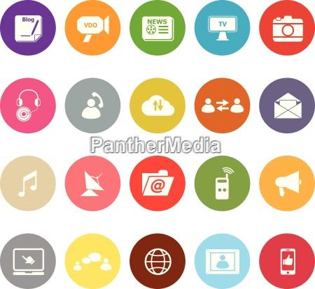 media flat icons on white background