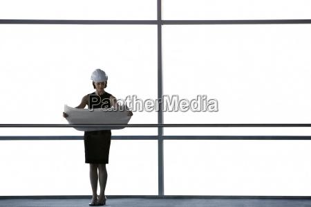 woman office corridor inside model design