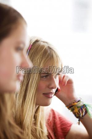 woman conversation telephone phone talk speaking