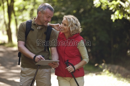 a mature couple out walking