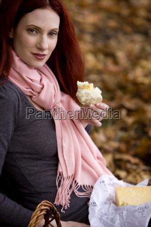 woman food aliment bread health single