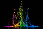 colorful paint splash on a speaker