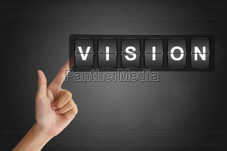 hand pushing business vision on flip