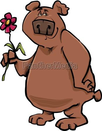 bear with flower cartoon illustration