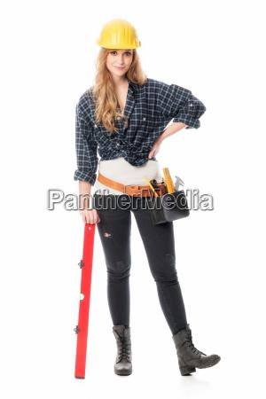 handwerker mit wasserwaage