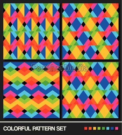 colorful geometric pattern set vector