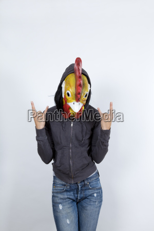 cock wearing a hoodies