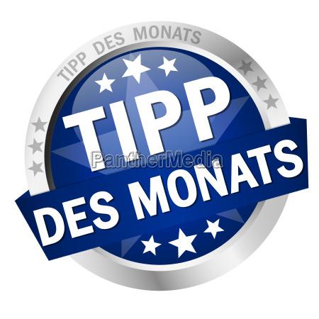 button with banner tipp des monats