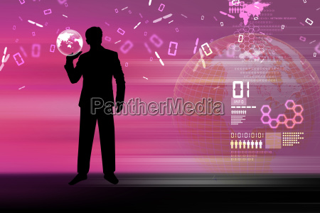 man showing concept of global business